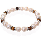 Natural White Zoetwater Parel Fashion And Round Tiger Eye kralen elastische armband met strass Zilveren Bedels