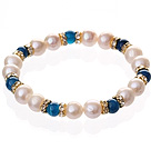 Moda Natural Branco Pérola de Água Doce And Round Ágata azul frisada pulseira elástica com encantos Ouro Rhinestone