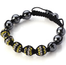 Fashion Mixed White Yellow Black Rhinestone Ball And Tungsten Steel Black Drawstring Bracelet