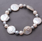 Fashion Natural 7-8mm White And Gray Freshwater Button Pearl Stretch Bracelet