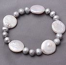 Fashion Natural 7-8mm Gray Freshwater And White Button Pearl Stretch Bracelet