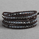 Fashion Style Gray Series Crystal Beads Three Times Wrap Bangle Bracelet