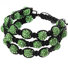 Popular Multilayer Green Round Polymer Clay Rhinestone And Braided Black Drawstring Bracelet