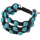 Popular Multilayer Blue Round Polymer Clay Rhinestone And Braided Black Drawstring Bracelet