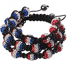 Popular Multilayer Combination Colorful Round Polymer Clay Rhinestone And Braided Black Drawstring Bracelet under $ 40