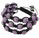 Popular Multilayer Purple Round Polymer Clay Rhinestone And Braided Black Drawstring Bracelet