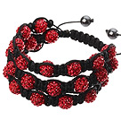 Popular Multilayer Red Round Polymer Clay Rhinestone And Braided Black Drawstring Bracelet under $ 40