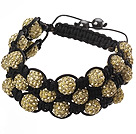 Popular Multilayer Earthy Yellow Round Polymer Clay Rhinestone And Braided Black Drawstring Bracelet under $ 40