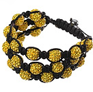 Popular Multilayer Yellow Round Polymer Clay Rhinestone And Braided Black Drawstring Bracelet