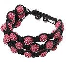 Popular Multilayer Pink Round Polymer Clay Rhinestone And Braided Black Drawstring Bracelet under $ 40