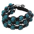 Popular Multilayer Blue Round Polymer Clay Rhinestone And Braided Black Drawstring Bracelet under $ 40