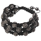 Popular Multilayer Blackish Grey Round Polymer Clay Rhinestone And Braided Black Drawstring Bracelet under $ 40