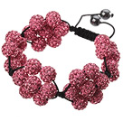 Popular Pink Round Polymer Clay Rhinestone Five Combination Flowers And Braided Black Drawstring Bracelet