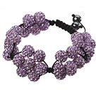 Popular Purple Round Polymer Clay Rhinestone Five Combination Flowers And Braided Black Drawstring Bracelet under $ 40