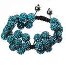 Popular Blue Round Polymer Clay Rhinestone Five Combination Flowers And Braided Black Drawstring Bracelet under $ 40