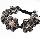Popular Blackish Grey Round Polymer Clay Rhinestone Five Combination Flowers And Braided Black Drawstring Bracelet
