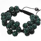 Popular Dark Green Round Polymer Clay Rhinestone Five Combination Flowers And Braided Black Drawstring Bracelet under $ 40