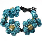 Popular Blue Yellow Round Polymer Clay Rhinestone Five Combination Flowers And Braided Black Drawstring Bracelet under $ 40