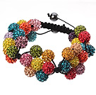 Popular Multi Colorful Round Polymer Clay Rhinestone Five Combination Flowers And Braided Black Drawstring Bracelet