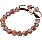 Fashion 10mm Mixed Color Hand-painted Round Agate And Braided Brown Drawstring Bracelet