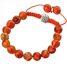 Fashion 10mm Orange Series Hand-painted Round Agate And Braided Drawstring Bracelet