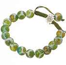 Fashion 10mm Green White Hand-painted Round Agate Drawstring Bracelet