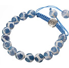 Fashion 10mm Blue White Hand-painted Round Agate And Braided Blue Drawstring Bracelet