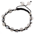 Lovely Round White Series Chalcedony And Square Crystal Black Drawstring Bracelet