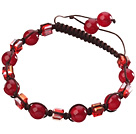 Lovely Round Red Series Carnelian And Square Crystal Black Drawstring Bracelet