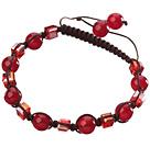 Piękny czerwony z serii okrągły i kwadratowy Karneol Czarny sznurek Bransoletka Kryształ menos de 2 euros