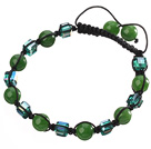 Lovely Round Chrysoprase And Square Crystal Black Drawstring Bracelet
