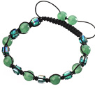 Lovely Round Green Series Aventurine And Square Crystal Black Drawstring Bracelet