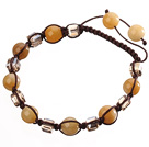Lovely Round Yellow Jade And Square Crystal Braided Brown Drawstring Bracelet