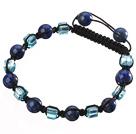 Mooie ronde Lapis En Blue Square Crystal gevlochten zwart koord armband menos de 2 euros