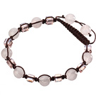 Lovely Round Rose Quartz And Square Crystal Brown Drawstring Bracelet