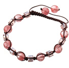 Lovely Round Cherry Quartz And Square Crystal Brown Drawstring Bracelet