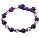 Lovely Round Purple Agate And White Square Crystal Braided Purple Drawstring Bracelet