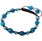 Lovely Round Faceted Blue Agate And Square Crystal Braided Black Drawstring Bracelet