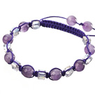 Lovely Round Amethyst And Square White Crystal Braided Purple Drawstring Bracelet under $ 40