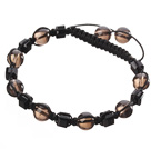Lovely Round Smoky Quartz And Square Black Crystal Braided Black Drawstring Bracelet