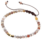 Fashion 4mm Round Persian Agate And Golden Spacers Braided Brown Drawstring Bracelet