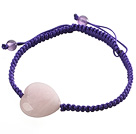 Popular Peach Heart Rose Quartz And Round Amethyst Braided Purple Drawstring Bracelet under $ 40
