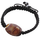 Popular Grind Arenaceous Agate And Braided Black Drawstring Bracelet
