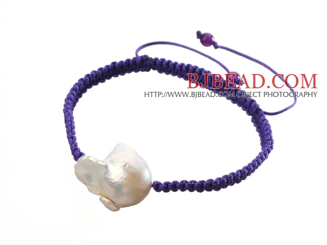Popular White Nuclear Pearl And Amethyst Braided Purple Drawstring Bracelet