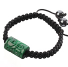 Popular Carved Cylinder Green Jade And Hand-knotted Black Drawstring Bracelet