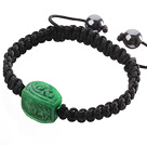 Popular Carved Green Jade And Hand-knotted Black Drawstring Bracelet under $ 40