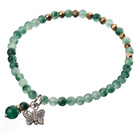 Green Jade And Metal Butterfly Charm Beaded Elastic Bracelet