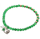 Nice Round Green Jade And Copper Spacer Heart Charm Beaded Elastic Bracelet