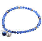 Nice Round Blue Jade And Copper Spacer Heart Charm Beaded Elastic Bracelet