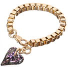 Fashion Simple Style Golden Link Bracelet With Lobster Clasp And Austrian Crystal Heart